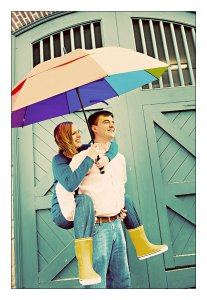Rainy Engagement Photo