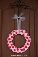 v-day wreath on front door